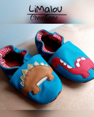 Chaussons cuir dinosaures