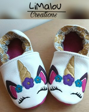 Chaussons cuir licorne limalou
