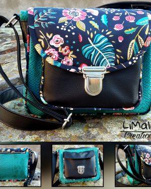 Besace Blandine turquoise et noire limalou