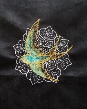 Coupon brodé oiseau mandala limalou