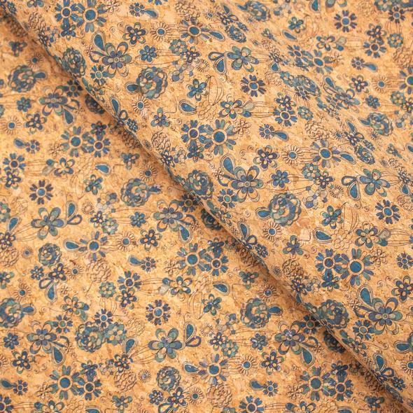 coupon liège petites fleurs bleues limalou