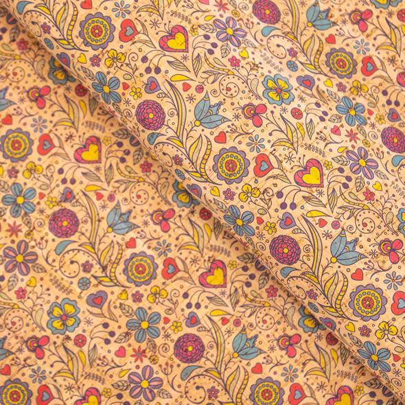 Coupon de liège - Coeurs et fleurs limalou