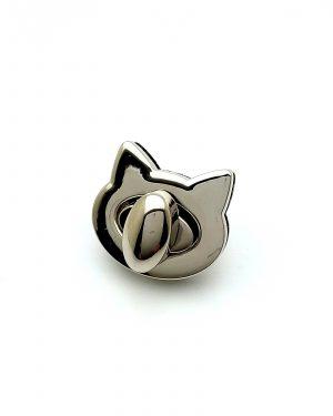 Fermoir tourniquet chat métal argenté limalou