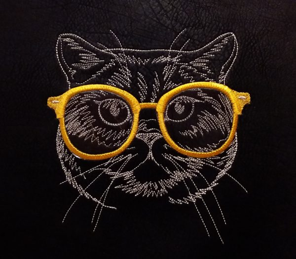 Coupon brodé - Chat à lunettes limalou